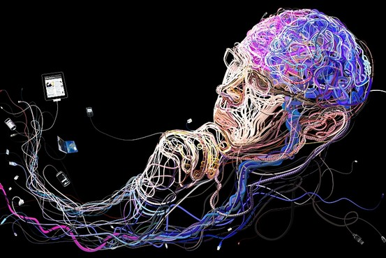 Charis Tsevis' illustration of the connections from one's brain to one's gadgets.